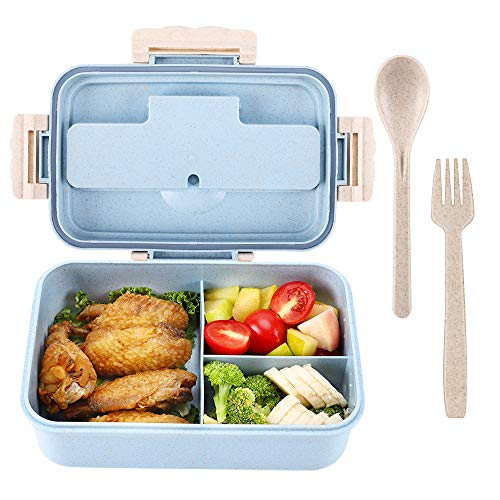 Bento Box For Kids With 3 Compartment Leakproof Lunch Containers With Spoon Fork Microwave Dishwasher Safe BPA Free Meal Box With Handle Wheat Fiber Blue