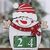 LOHOX Adventskalender Zum Befüllen Filz Weihnachtskalender Tisch Dauerkalender Weihnachtskalender Würfel Holz Bürokalender Weihnachten Deko, Nikolaus und Rentier
