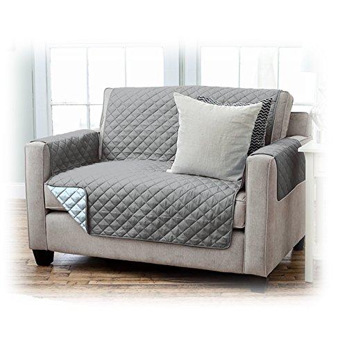 JEMIDI fauteuilhoes fauteuilbescherming beschermhoes in topkwaliteit fauteuil bescherming sofaovertrek sofa sprei bankovertrek varianten 2 Sitzer antraciet/lichtgrijs.
