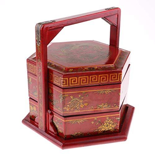 Tubayia Chinesische Retro Holz Lunchbox Picknickkorb Picknick Mittagessen Korb für Lebensmitteltransport