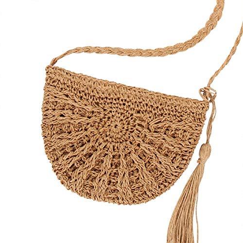 YIXIA Bolsa de paja de hombro de paja bolsa de mano de paja para mujer tejida a mano pompón de paja cruzada bolsa de verano playa sobre cartera