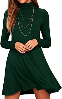 Women's Long Sleeve Turtleneck Casual Loose T-Shirt Dresses