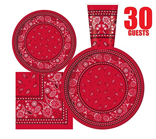 Purchase Serves 30 | Complete Party Pack | Red Bandana Western Party Supplies | 9 Dinner Paper Plat...