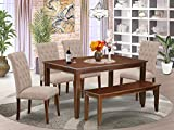 East West Furniture 6Pc Set Includes a Rectangle Dining Table, Four Parson Chairs with Light Fawn Fabric and a Bench, Mahogany Finish