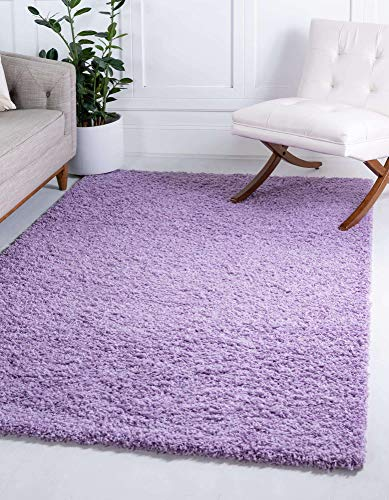Unique Loom Solo Solid Shag Collection Modern Plush Lilac Area Rug (4' 0 x 6' 0)