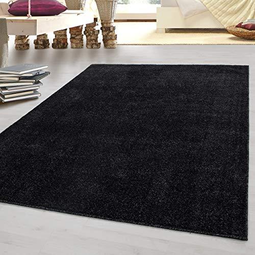 Laagpolig vloerkleed platpolig tapijt Gabbeh optiek woonkamer tapijt een kleur 7 kleuren, kleur:Antraciet, Groote:280x370 cm