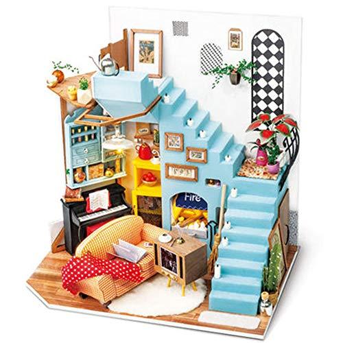Rolife ミニチュア ドールハウス DIY 木製ハウスキット 3Dハウスパズルモデル クリエイティブルームデコレーション 家具とLED付き 誕生日プレゼントに最適 (ジョイの半島リビングルーム)