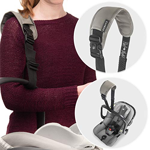 Zamboo Carrying Strap for Baby Car Seat - Universal Carrying Aid with Anti-Slip Pad and Shoulder Pad - Easy to Transport Baby Car Seats (e.g. Maxi-COSI, Cybex, etc.) - Black Grey