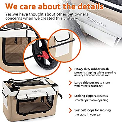 Display4top Pet Travel Stroller Dog Cat Pushchair Pram Jogger Buggy w/Locking Zippers Plush Nap Pillow 2X Interior Room Airy Windows Sunroof Reduces Anxiety 7