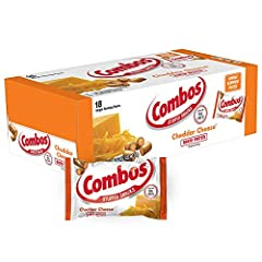 Contains one (1) box of eighteen (18) individual servings of COMBOS Cheddar Cheese Pretzel Baked Snacks Made with a pretzel shell and real cheese filling Each individual serving contains 130 calories A satisfying and delicious on the go snack Pack a ...