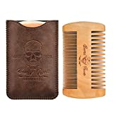 Beard Power Wooden Beard Comb & Durable Case for Men with Sexy Beard, Fine & Coarse Teeth, Pocket Comb for Beards & Mustaches,Brown Skull Design