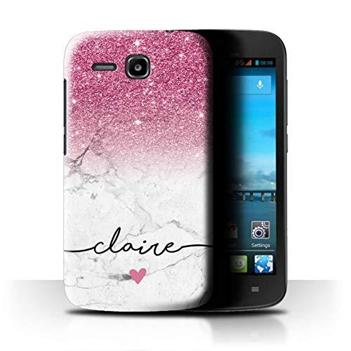 Personalisiert Hülle Für Huawei Ascend Y600 Handschrift Glitter Ombre Rosa FunkeIn Weißer Marmor Design Transparent Ultra Dünn Klar Hart Schutz Handyhülle Case