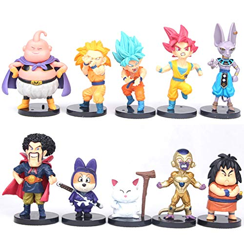 EASTVAPS 10 unids / Lote Dragon Ball Z Figura de Juguete Sun Goku Vegeta Super Saiyan Hercule Frieza Buu Beerus WHIS Anime 4-9cm