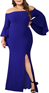 9d616b9e2a Lalagen Women s Plus Size Off Shoulder Bodycon Long Evening Party Dress Gown