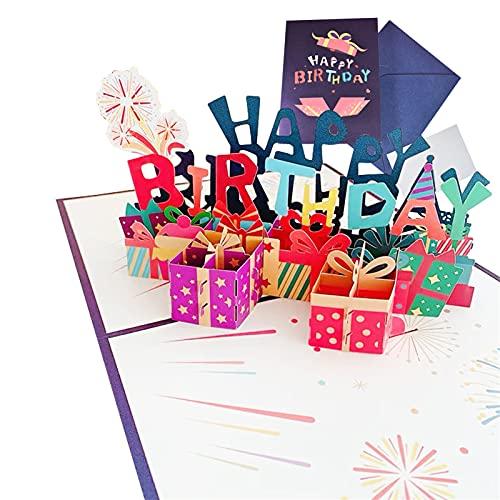 Tarjeta de cumpleaños desplegable con diseño de caja de regalo, tarjeta de felicitación de cumpleaños, tarjetas de cumpleaños con sobre para familia, colegas, amigos, niños, amantes, padres
