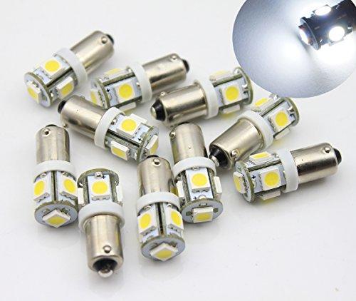 Lot de 10 ampoules à baïonnette BA9S T11 5 LED pour tableau de bord Blanc 6 V