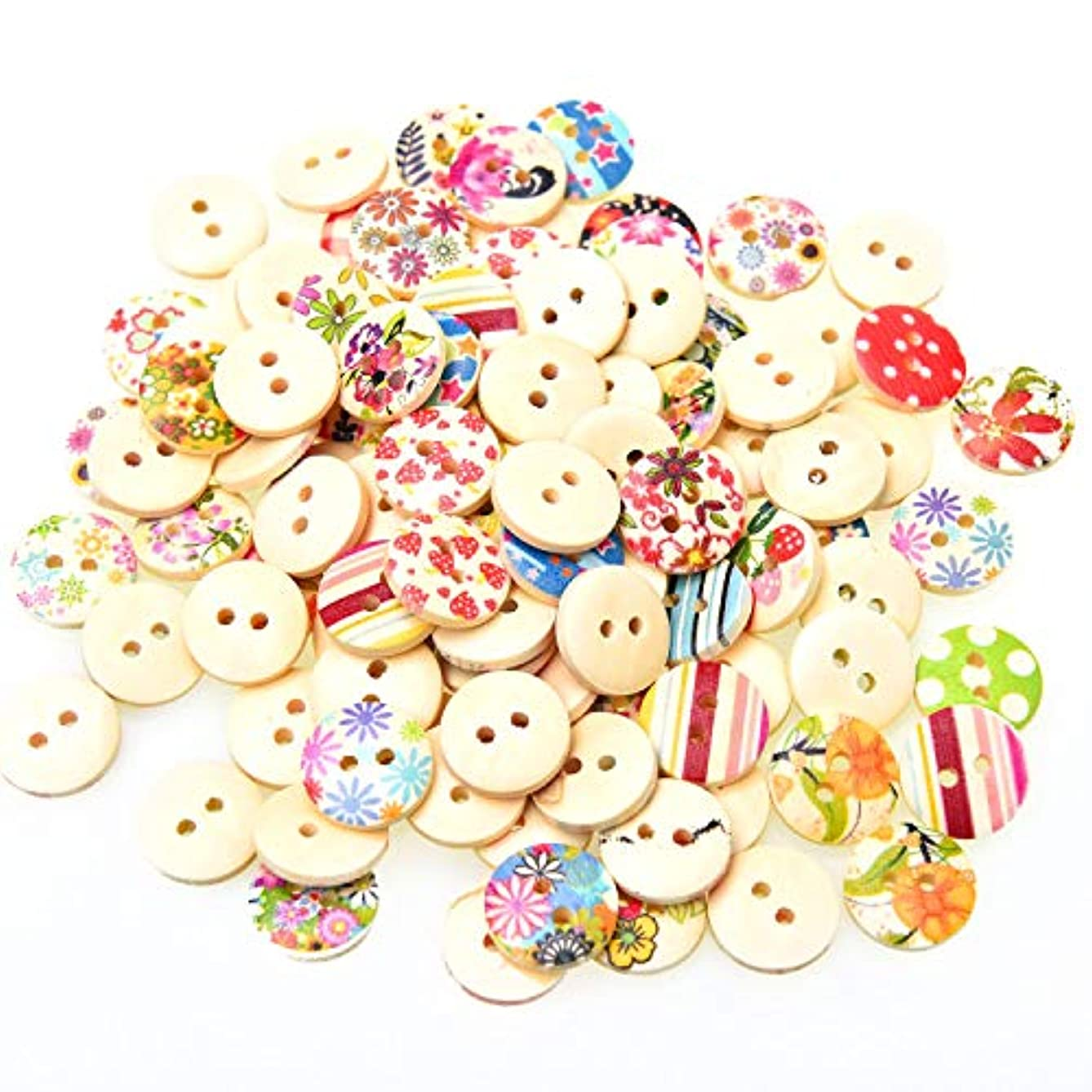 Monrocco 100pcs Mixed Colorful Wooden Buttons 2 Holes Sewing Buttons for Crafts