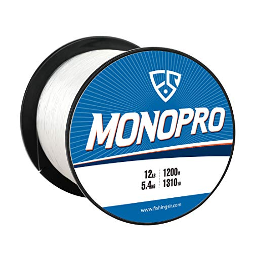 FISHINGSIR 12 LB Monofilament Fishing Line Clear, High Tensile Strength and Abrasion Resistant, Low Memory