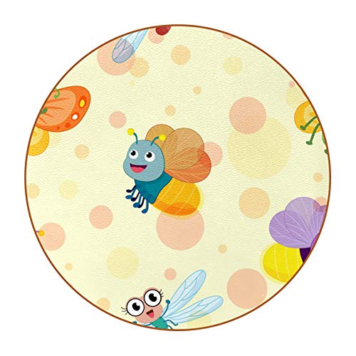 Coasters for Drinks Lovely Bees Dragonflies Designed Drink Coasters, (4.3 Inch, Round), Super Heat-Resistant Double-sided non-slip Coasters for Drinks, Great Housewarming Gift Set of 6