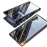 Funda para Samsung Galaxy Note 10+/10 Plus, magnética, 360 grados, protección completa, marco de metal y transparente, parte delantera y trasera, cristal templado, antigolpes, color negro