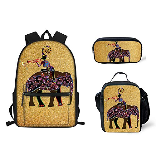 doginthehole Girls Woman Backpack Bookbag 3Pcs Best Lunch Boxes for Kids Pencil Pen Holder Pouch Purse