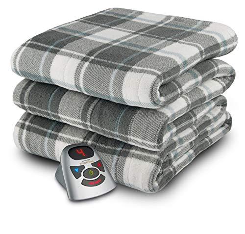 Biddeford Blankets Micro Plush Electric Heated Blanket with Digital Controller, Twin, Grey/White