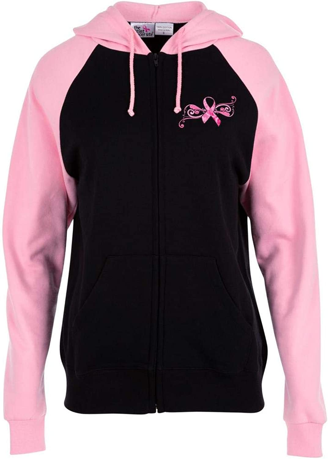 GreaterGood Pink Ribbon Butterfly TwoToned Zip Hoodie