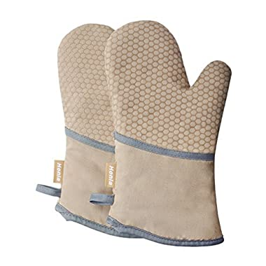 Kitchen Oven Mitts With Non-Slip Silicone Printed - 1 Pair of Heat Resistant Oven Gloves for Cooking,Baking,Grilling,Barbecue Potholders,Tan/Khaki,Honla