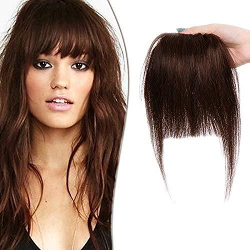 SEGO Frange à clips Cheveux Naturel Noir Avec Tempe - Postiche Vrai Cheveux Humains Lisse Remy Hair Bang Fringe Femmes - Epais 04#Marron Chocolat(18CM - 25g)