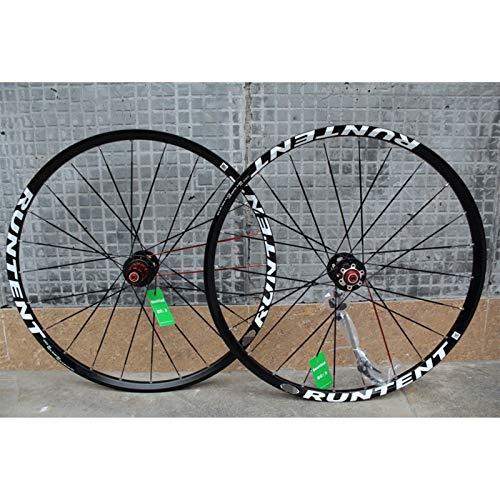 Hs&con Bike Wheelset 26 Pulgadas de Doble Pared MTB Rim Cojinete Sellado Disco/Freno de llanta Relación rápida para 8-10 velocidades Cassette de Concesor de Carbono Vuelo 24h (Color : B-Black)