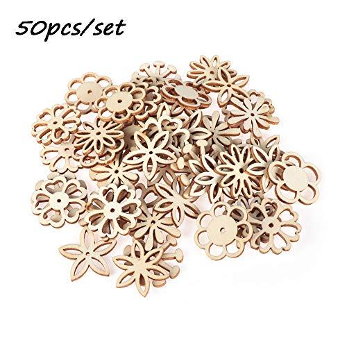jumpeasy 50 stks/set met gat decoratie hanger DIY ambachten Scrapbooking bloem patroon sieraad verfraaiing natuurlijk hout