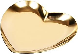 صينية تخزين معدنية على شكل قلب من كابيلوك، علبة تخزين معدنية لتنظيم المجوهرات، صينية إكسسوارات وعلبة مجوهرات (ذهبي)