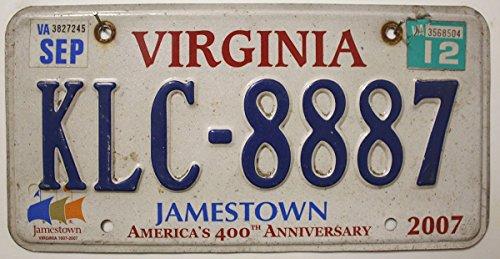 USA_Auswahl_von_Fahrzeugschildern USA Nummernschild Virginia Jamestown ~ US Kennzeichen License Plate ~ Blechschild