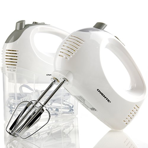 Ovente Portable 5 Speed Mixing Electric Hand Mixer with Stainless Steel Whisk Beater Attachments & Snap Storage Case, Compact Lightweight 150 Watt Powerful Blender for Baking & Cooking, White HM151W