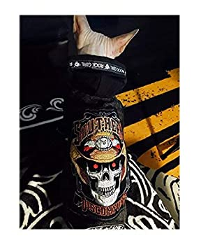 Khemn Designer Tête de mort Mode Animal au chaud Vêtements Animal de compagnie Manteau Pull à capuche pour chien et chat avec un épais Fleece-best pour Hairless Cat Sphynx