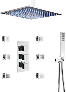 LED Rain Brass Shower System Chrome Finish Complete Kit with Thermostatic Pressure Blanced Mixing Valve (12 inch chrome shower set)