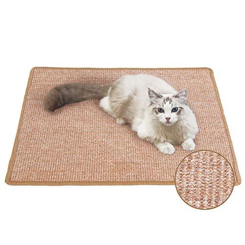FUKUMARU Cat Scratcher Mat, 23.6 X 31.5 Inch Natural Sisal Cat Scratch Mats, Horizontal Cat Floor Scratching Pad Rug, Protect Carpets and Sofas Brown