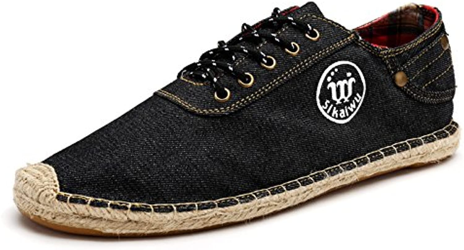Men's canvas shoes, fashion casual canvas shoes shoes breathable canvas shoes low to help England,black,Forty-two