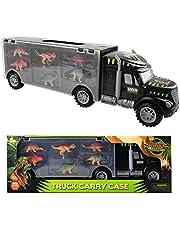 m zimoon dinosaurus vrachtwagen speelgoed, dinosaurus transporter vrachtwagen dinosaurus speelgoed draagvoertuig met 6 mini plastic dinosaurussen voor jongens meisjes kinderen