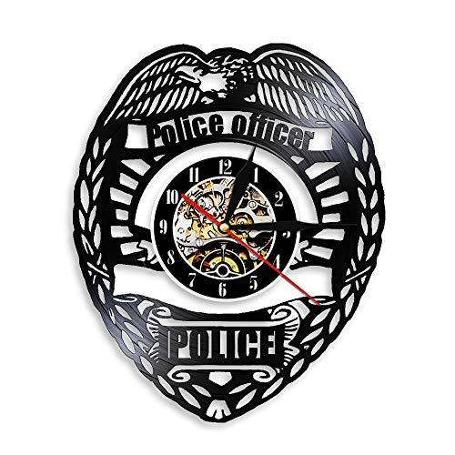Tbqevc Placa de policía decoración Reloj de Pared cronógrafo de Vinilo Vintage Regalo de policía Hecho a Mano 12 Pulgadas