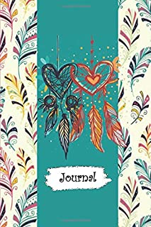 Journal: Colorful Feathers & Heart Shaped Dream Catcher Diary with Blank Lined Notebook Paper