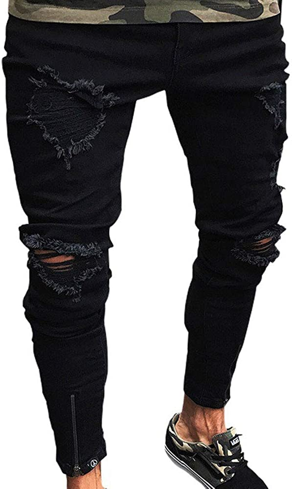 Men's Distressed Slim Max 62% Opening large release sale OFF Denim Pants Hip Hop Wor Holes Ripped Patch