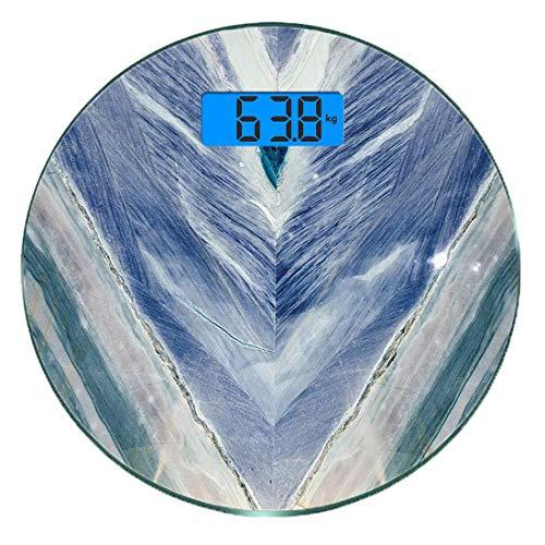 Escala digital de peso corporal de precisión Ronda Mármol Báscula de baño de vidrio templado ultra delgado Mediciones de peso precisas,Estilo tribal de piedra de ónix con elementos de color Ágata Patr