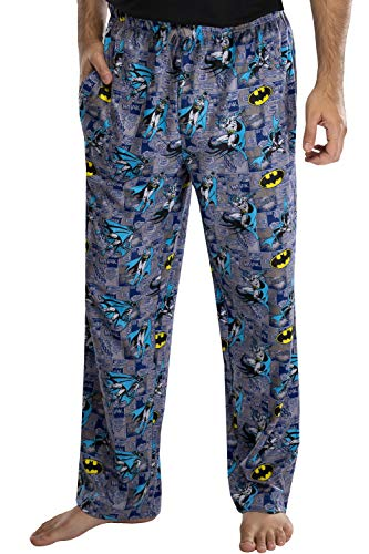 DC Comics Men's Classic Batman Comic Allover Print Loungewear Pajama Pants (XL) Grey