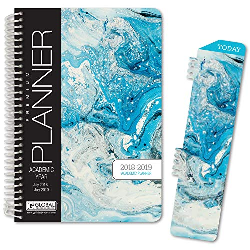 Best Planner 2019 Agenda for Productivity, Durability and Style. 5x8 Daily Planner/Weekly Planner/Monthly Planner/Yearly Agenda. HARDCOVER Organizer with Bookmark (Blue Marble)