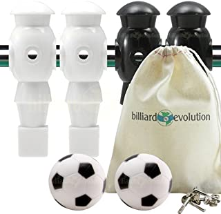 Billiard Evolution 4 White and Black Foosball Men and 2 Soccer Balls with Free Screws and Nuts