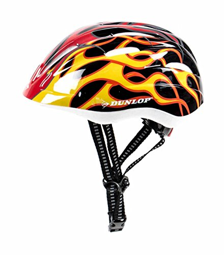 Kinder Fahrradhelm Dunlop für Radfahrer, Skater, Eisläufer und Skateboarder, entspricht DIN EN 1078, lieferbar in verschiedenen Designs, Biene / Flammen / Herz-Schmetterling / Blume / Skull / Stars & Stripes (Flammen)