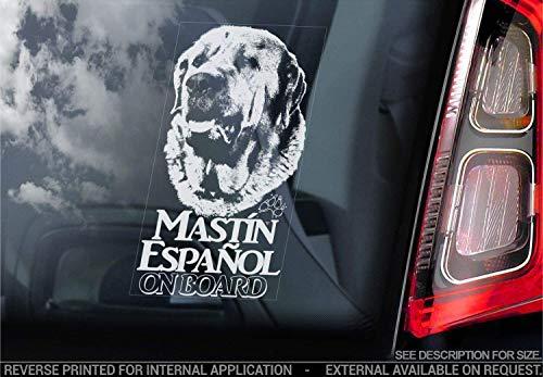 Sticker International Mastin Español - Adhesivo Coche - Perro Firmar Ventana, Parachoques Pegatina Regalo - V001 - Blanco/Claro - Interno Marcha Atrás Estampado, 200x100mm