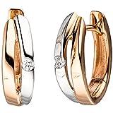 JOBO Damen-Creolen aus 585 Rosegold Bicolor mit 2 Diamanten