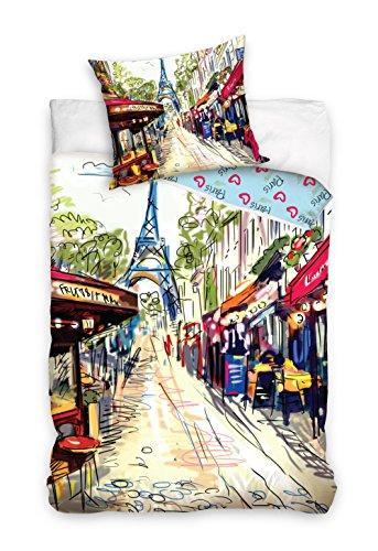 Paris Tour Eiffel linge de lit housse de couette 160x200 + TAIE 70x80 Idée Déco 100% Coton, Nouveauté collection tableau parisien